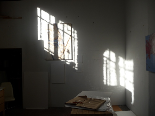 Afternoon light moving across the back of my studio.
